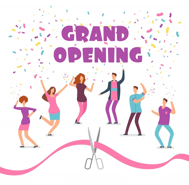 Grand opening concept with happy dancing people at party and red ribbon with scissors cartoon