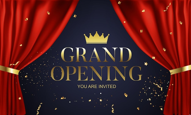 Grand opening congratulation background card with golden confetti ribbon