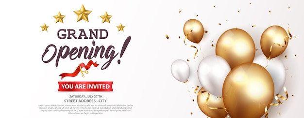 Grand opening   design with gold ribbon and confetti