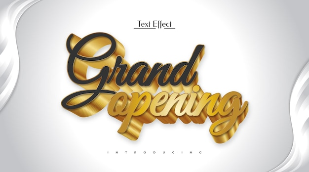 Grand opening editable text effect in black and gold