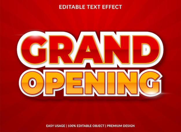 Grand opening editable text effect with modern and abstract style