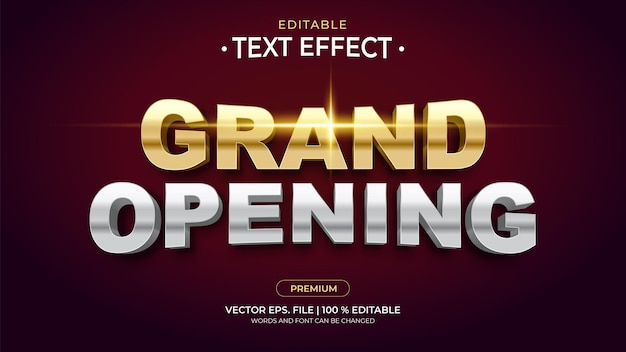 Grand opening editable text effects