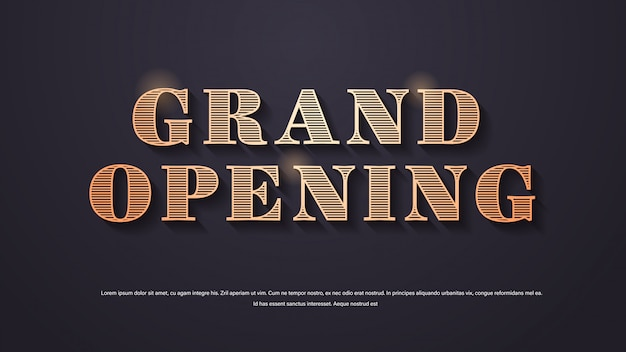 Grand opening elegant lettering poster or banner decoration for open ceremony copy space