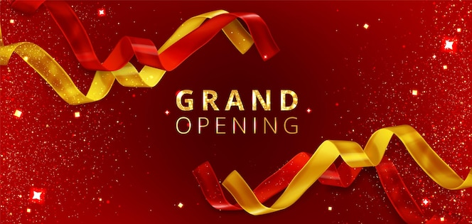Grand opening event background with cut red and golden ribbons