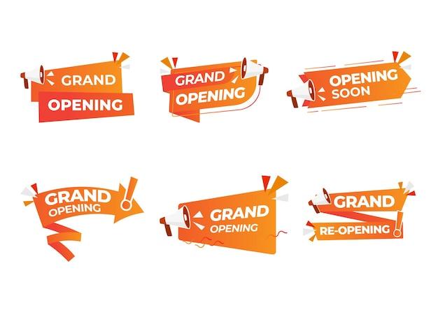 Set di icone di evento di grande apertura. negozio o festival del festival