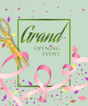 Grand opening event lettering in frame