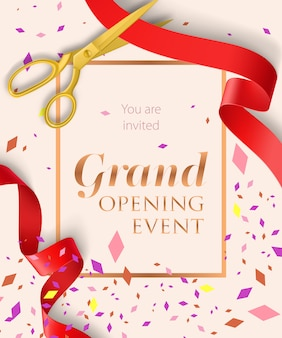 Grand opening event lettering with confetti