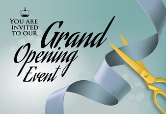 Grand opening event lettering with cutting scissors