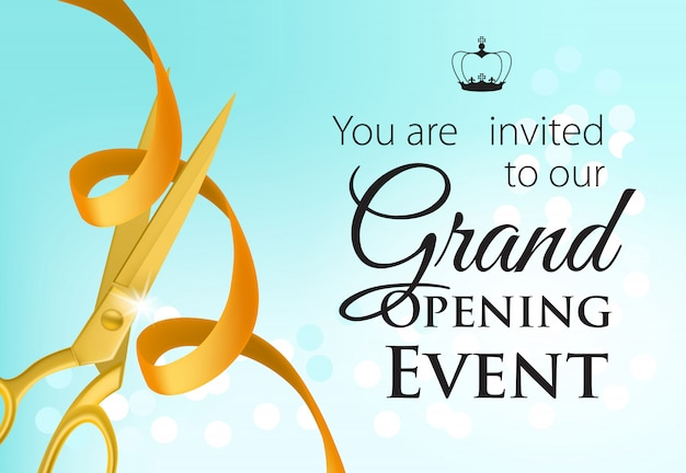 Grand opening event lettering with golden scissors and ribbon