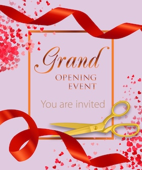 Grand opening event lettering with heart confetti