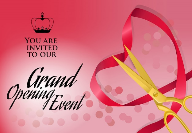 Grand opening event lettering with heart-shaped ribbon