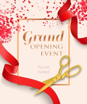 Grand opening event lettering with red ribbons