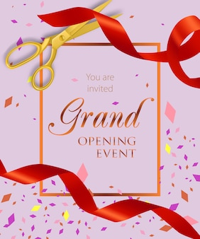 Grand opening event lettering with scissors and ribbons