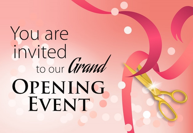 Grand opening event lettering with scissors cutting ribbon