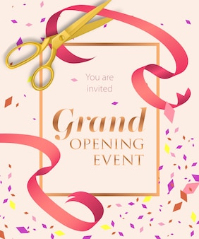 Grand opening event lettering with scissors
