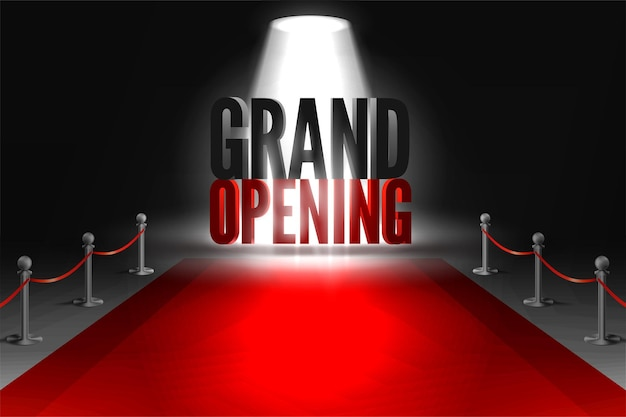 Grand opening event in spotlights on red carpet between two barriers