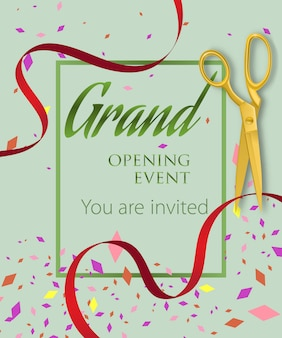 Grand opening event, you are invited lettering