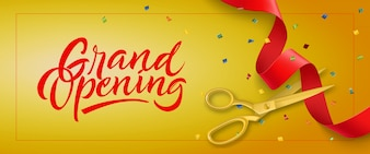 Grand opening festive banner with frame, confetti and gold scissors