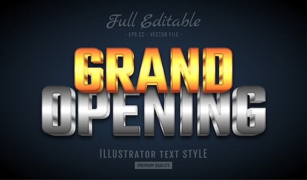 Grand opening gold silver 3d text