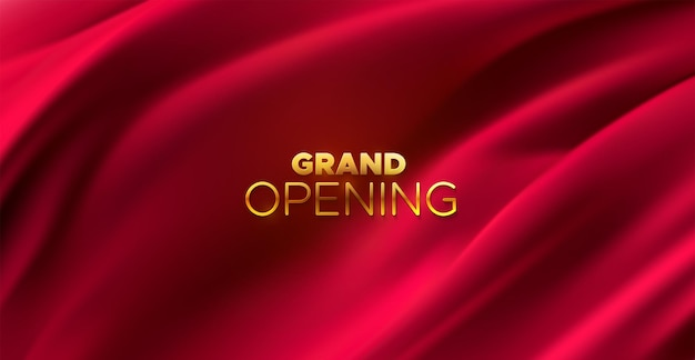 Grand opening golden sign on red fabric