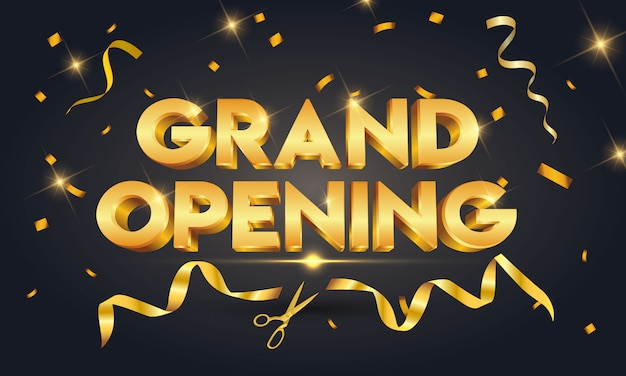 Grand opening golden text with gold scissors cutting gold ribbon on black sparkling