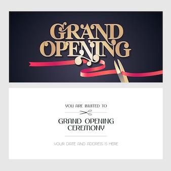 グランドオープンのイラスト、背景、招待状。テンプレートバナー、オープニングイベントへの招待