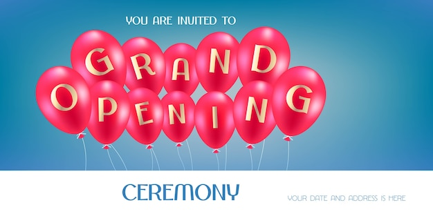 Grand opening  illustration, background, invitation card. template invite to opening ceremony