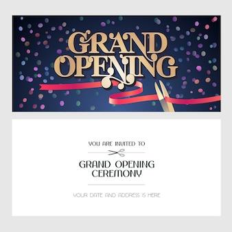 グランドオープンのイラスト、背景、招待状。ボディコピー付きの赤いリボンカットセレモニーへのテンプレート招待