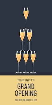 グランドオープンのイラスト、背景、招待状。ボディコピー付きの赤いリボンのカットセレモニーにシャンパンのグラスでテンプレートを招待