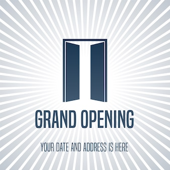 Grand opening  illustration, background with open door