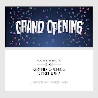 グランドオープンのイラスト、新しいお店の招待状。テンプレートバナー、オープニングイベントへの招待、赤いリボンのカット式