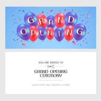 グランドオープンのイラスト、新しい店の招待状。テンプレートバナー、オープニングセレモニーの要素、気球を使った赤いリボンカッティングイベント