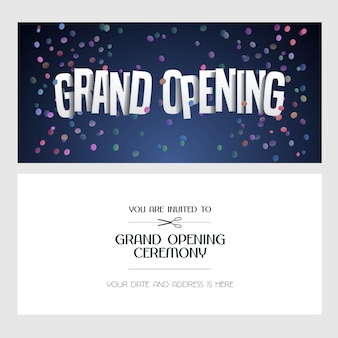 Grand opening  illustration, invitation card for new shop. template banner, invite for opening event, red ribbon cutting ceremony
