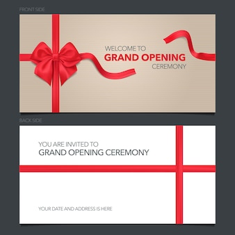 Grand opening  illustration, invitation card.