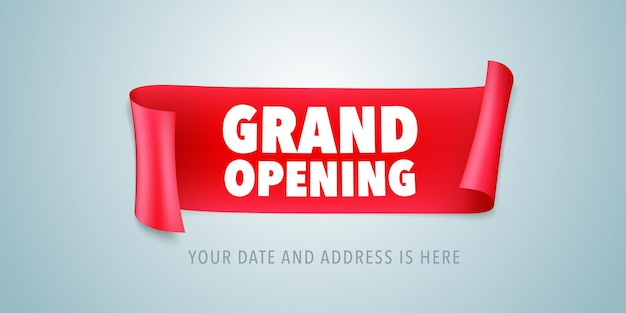 Grand opening illustration with wavy ribbon
