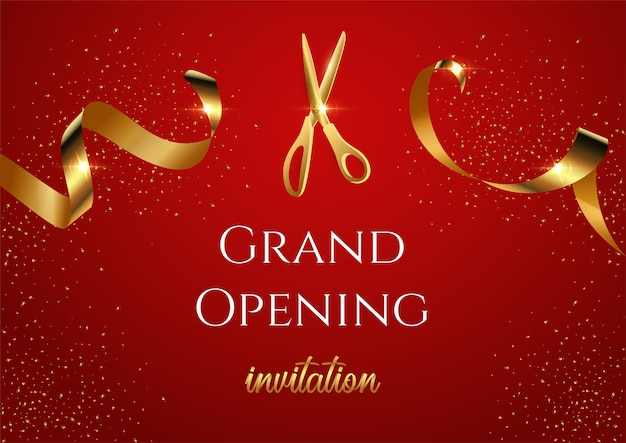 Grand opening invitation banner, shiny scissors cutting golden ribbon realistic illustration.