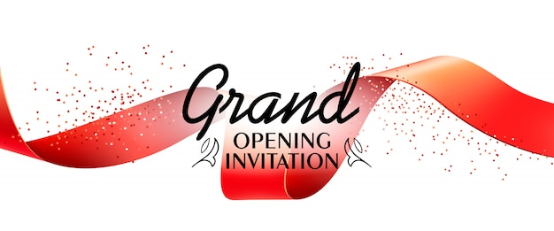Grand opening invitation banner with red ribbon