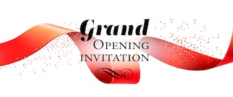 Grand opening invitation, banner with red ribbon