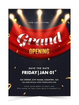 Grand opening invitation, flyer design with event details