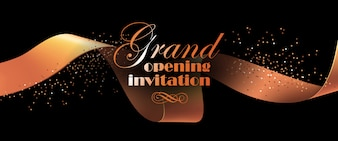 Grand opening invitation flyer with gold ribbon