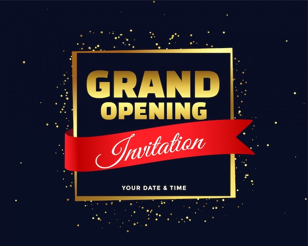 Grand opening invitation in golden theme