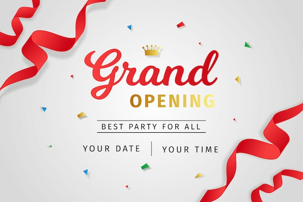 Grand opening invitation realistic style