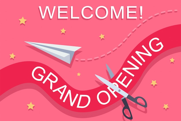 Grand opening invitation vector illustration.