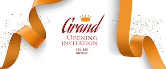 Grand opening invitation with confetti, gold ribbons
