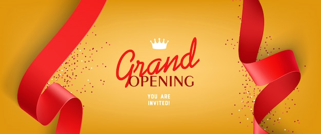 Grand opening invitation with confetti, red ribbons