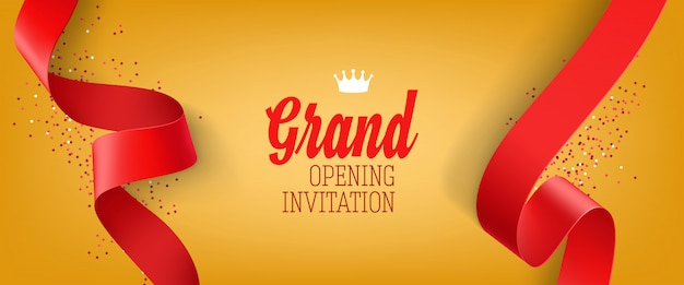 Grand opening invitation yellow banner with red ribbon