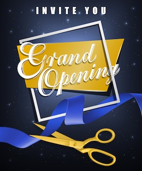 Grand opening, invite you festive poster with white frame and gold scissors