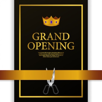 Grand opening luxury gold crown cutting ribbon