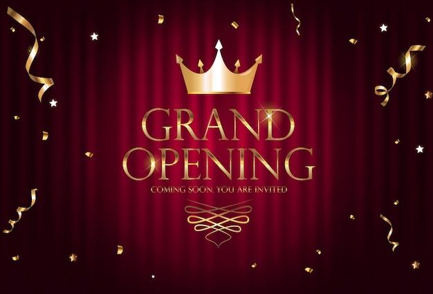 グランドオープンの豪華な招待状バナーの背景