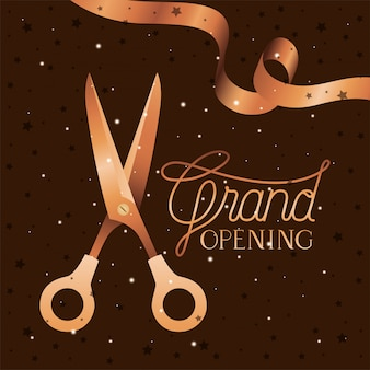 Grand opening message with scissors cutting golden tape